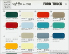 1967 Ford Truck Martin-Senor paint chip sheet