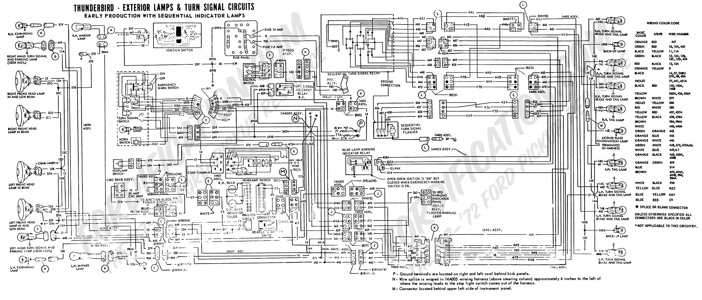 THUNDERBIRD - EXTERIOR LAMPS & TURN SIGNAL CIRCUITS EARLY PRODUCTION WITH  SEQUENTIAL INDICATOR LAMPS