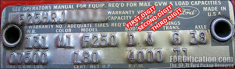 Decoding Your 1971 Ford Truck Vin Fordificationrhfordification: Ford F250 Vin Number Locations At Elf-jo.com