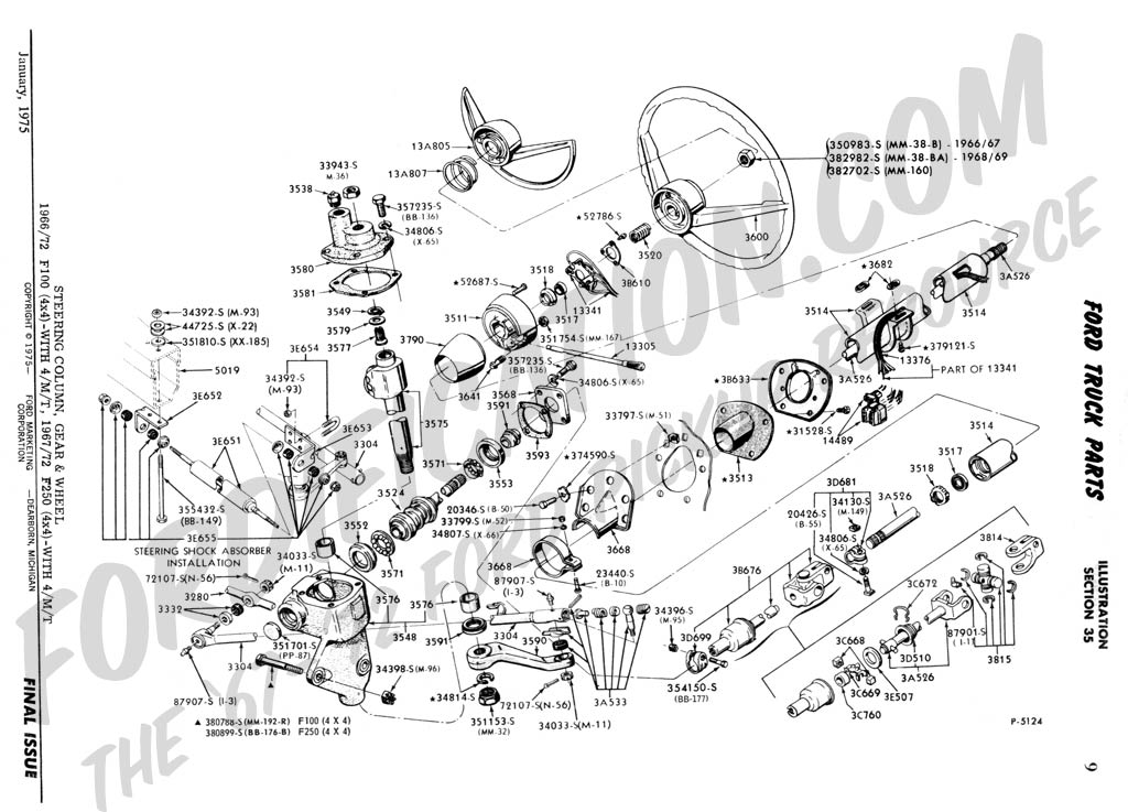 4WD_4spd manual_steering column ford truck technical drawings and schematics section c 1969 ford f100 steering column wiring diagram at gsmportal.co