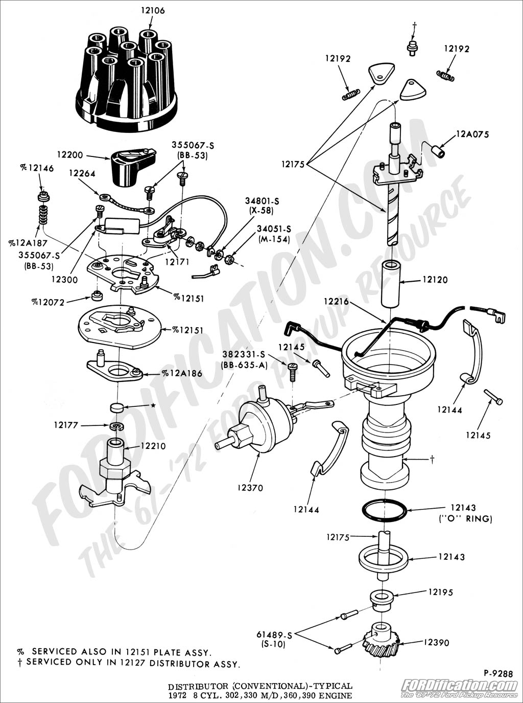 distributor_V8 02 ford truck technical drawings and schematics section i ford distributor diagram at crackthecode.co