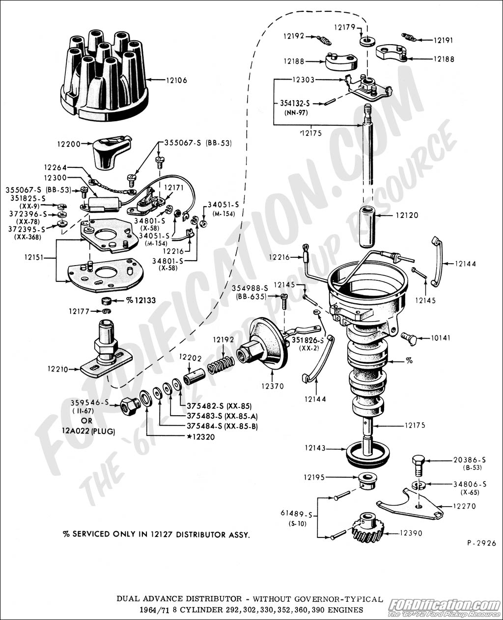 ford truck technical drawings and schematics section i Ford 460 Distributor Wiring ford 302 distributor wiring