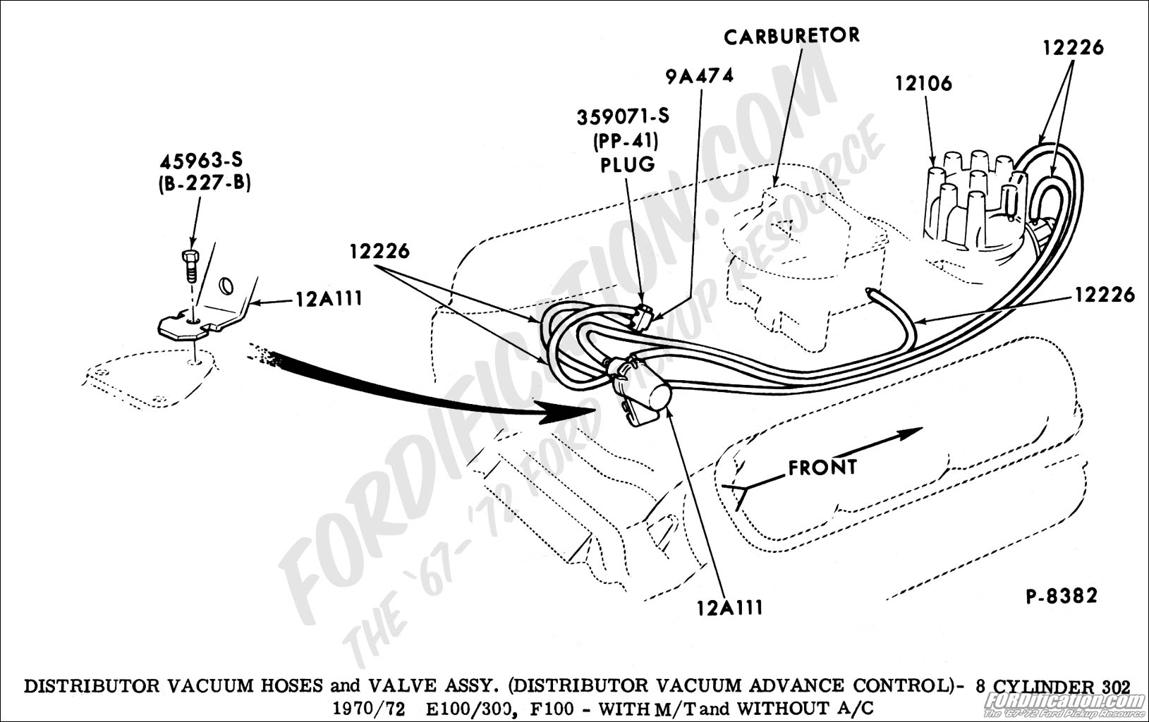 ford truck technical drawings and schematics section i distributor vacuum hoses and valve assy distributor vacuum advance control 8 cylinder 302 1970 1972 e100 d350 f100 m t and w o a c