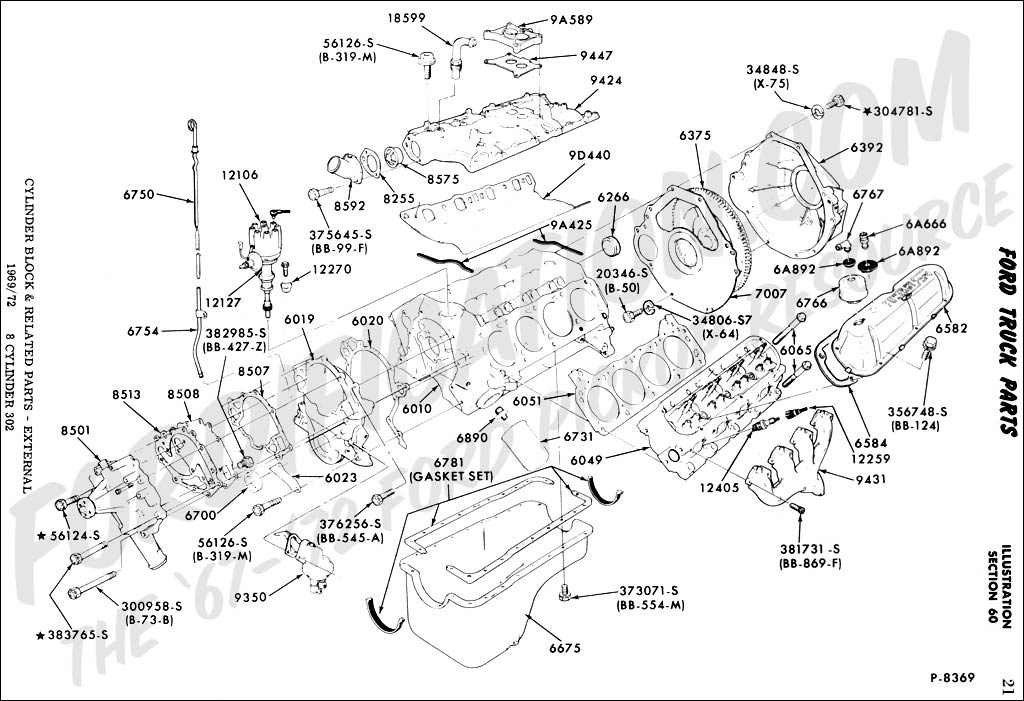ford truck technical drawings and schematics section e engine cylinder block related parts external 8 cylinder 302