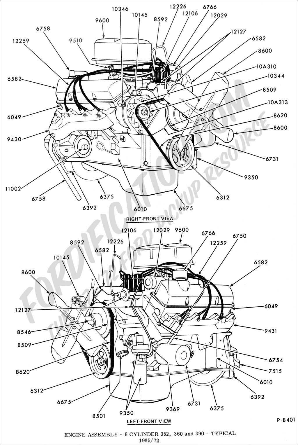 ford truck technical drawings and schematics section e engine engine assembly 8 cylinder 352 360 390 fe typical