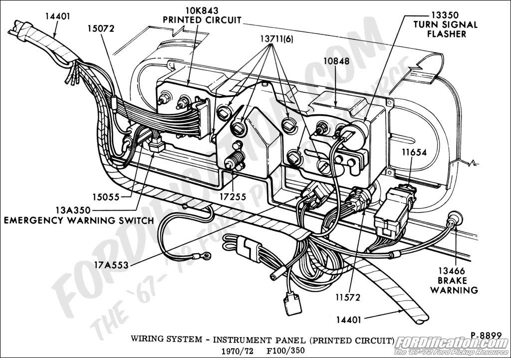 ford truck technical drawings and schematics section i wiring system instrument panel and flasher signal printed circuit 1970 1972 f100 350