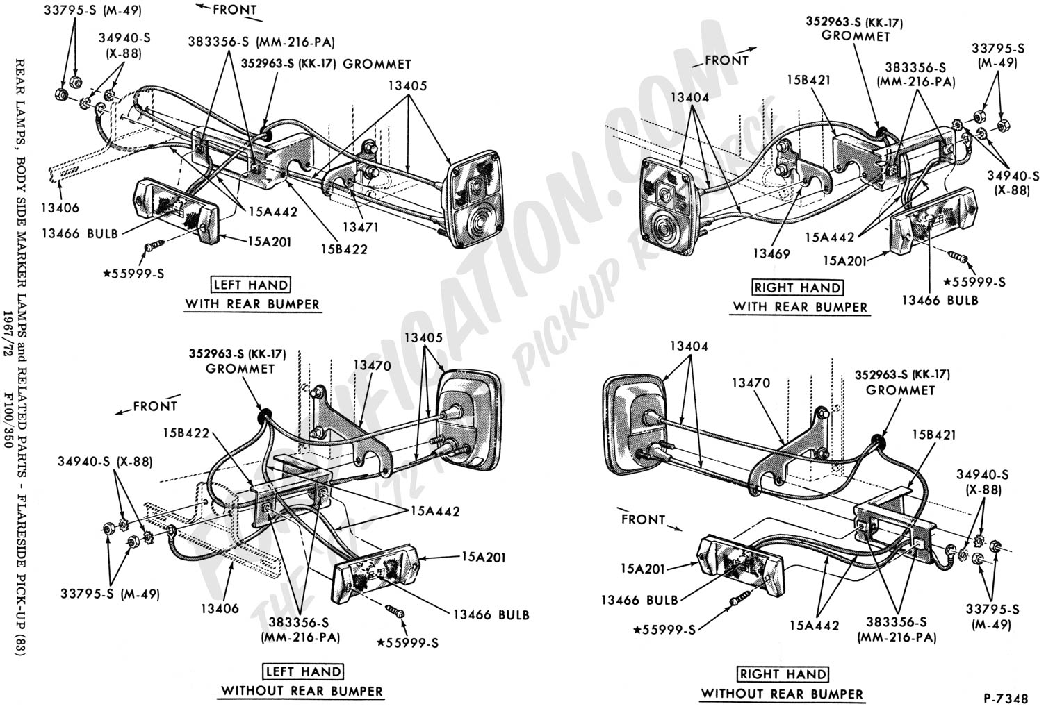Ford Truck Technical Drawings And Schematics Section I 1977 Camaro Engine Wiring Diagram Rear Body Taillight Electrical