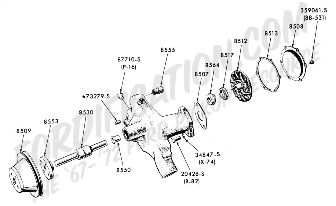 ford y block v8 diagram