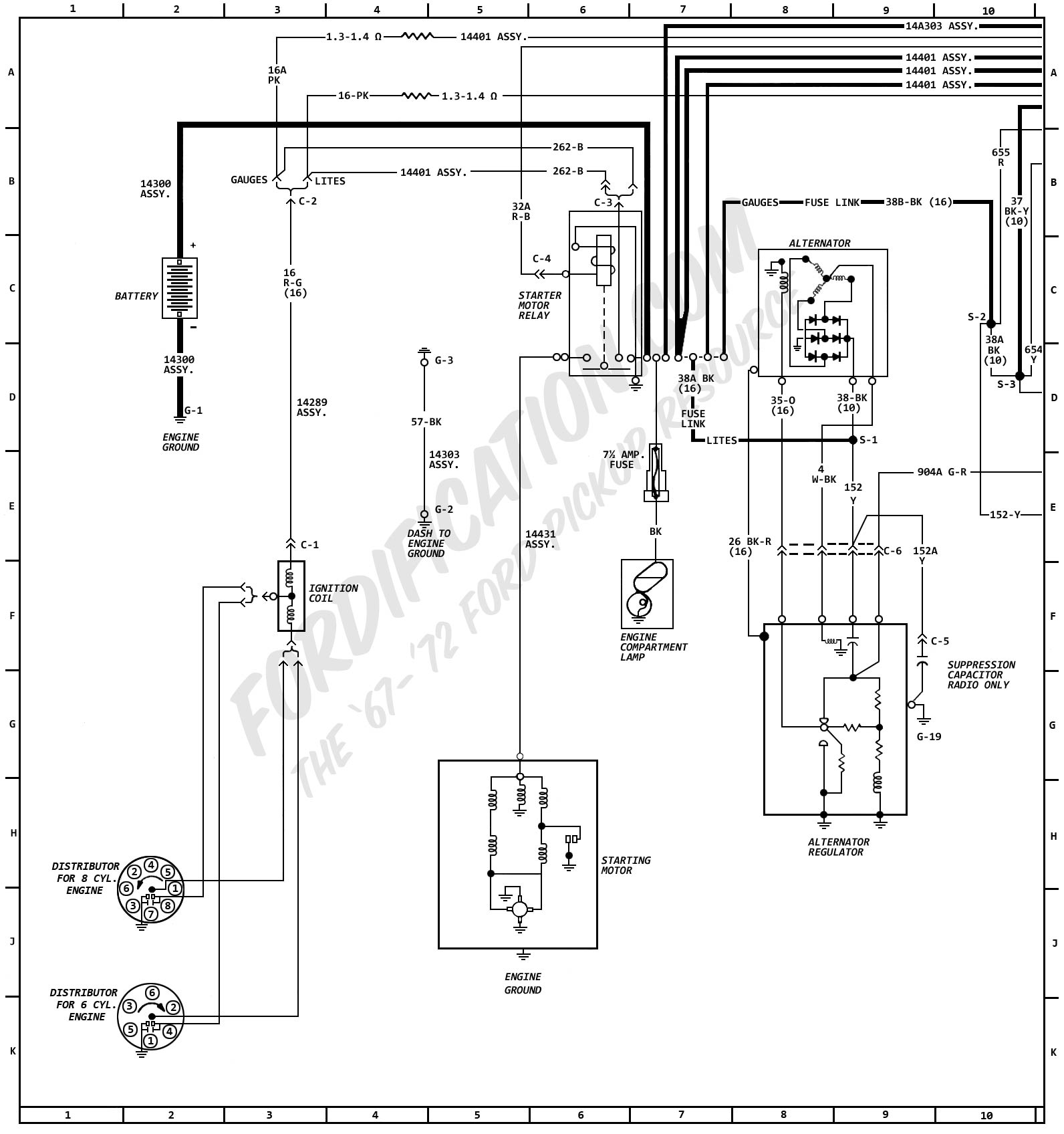 1972MasterWiring_01 1972 ford truck wiring diagrams fordification com 85 Ford Alternator Wiring Diagram at edmiracle.co