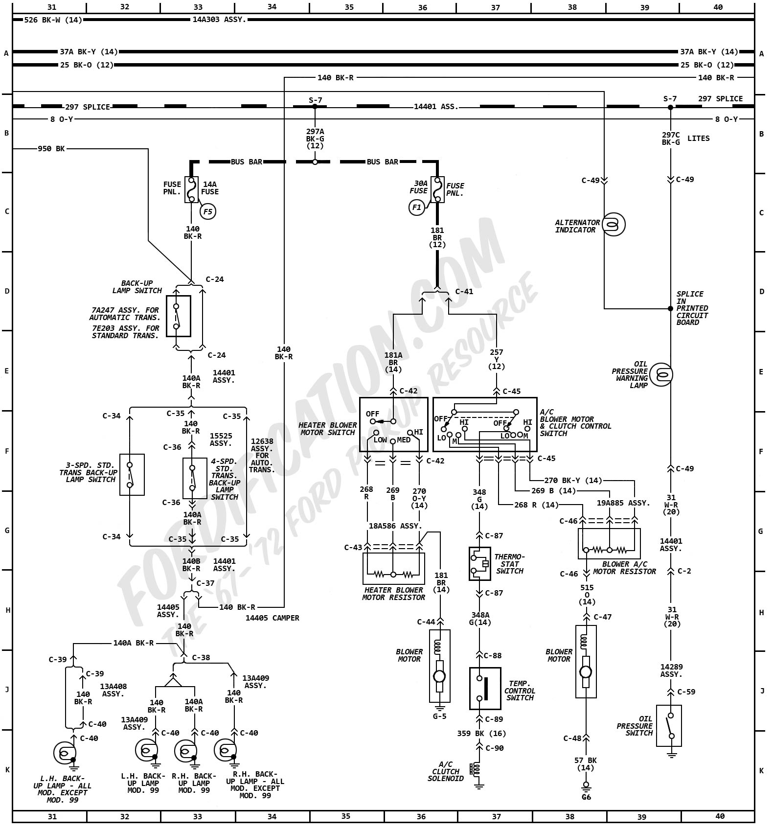 1972 ford truck wiring diagrams fordification com blower motor h 38 4 blower motor and clutch control switch