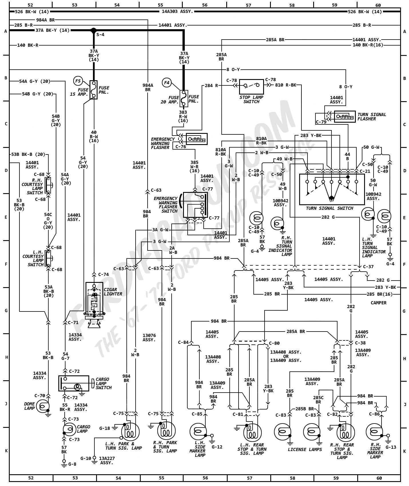 1972MasterWiring_06 1972 ford truck wiring diagrams fordification com 1970 ford f100 turn signal wiring diagram at mifinder.co