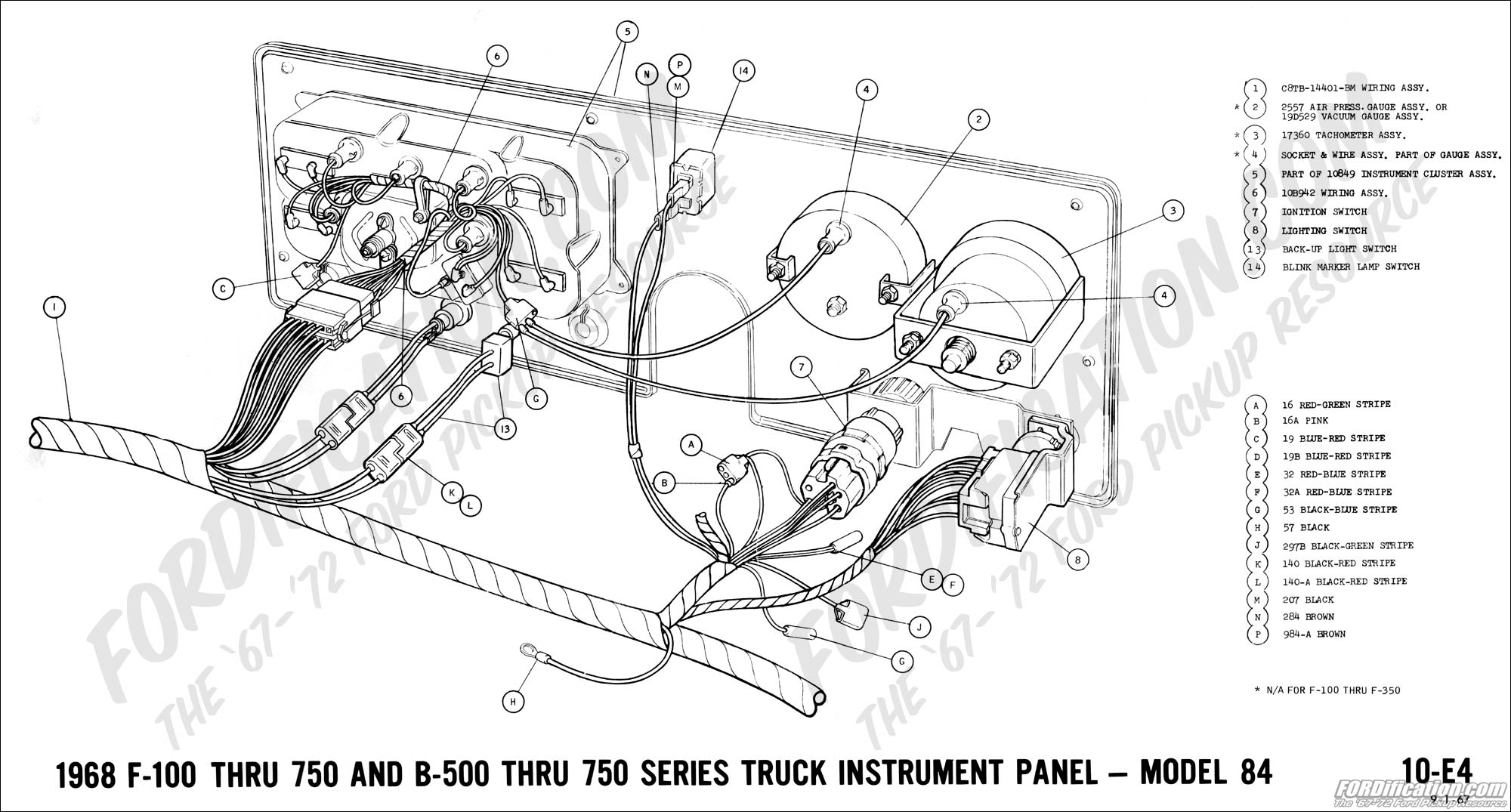 Ford Truck Technical Drawings And Schematics Section H Wiring A Light Switch Socket 1968 F 100 Thru 750 B 500 Instrument Panel Model 84