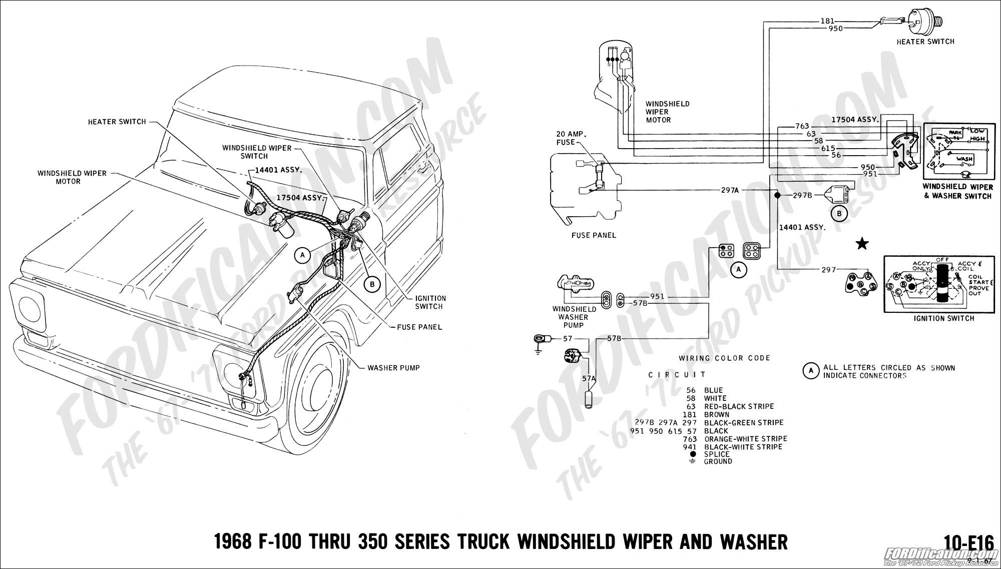Ford Truck Technical Drawings And Schematics Section H Wiring Alternator Diagram 1982 E350 460 1968 F 100 Thru 350 Windshield Wiper Washer