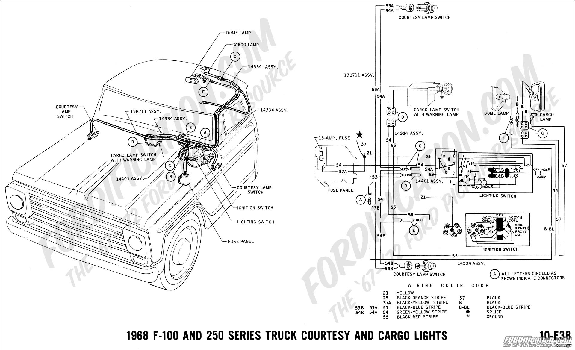 ford truck technical drawings and schematics section h wiring 1968 f 100 and f 250 courtesy and cargo lights