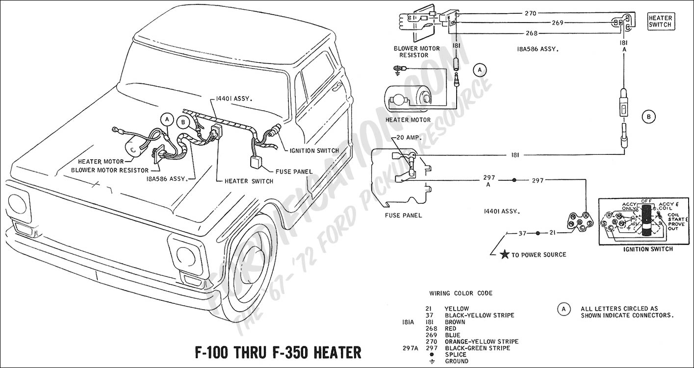Ford Truck Technical Drawings And Schematics Section H Wiring 1967 F 100 Color Diagram 1969 Thru 350 Heater