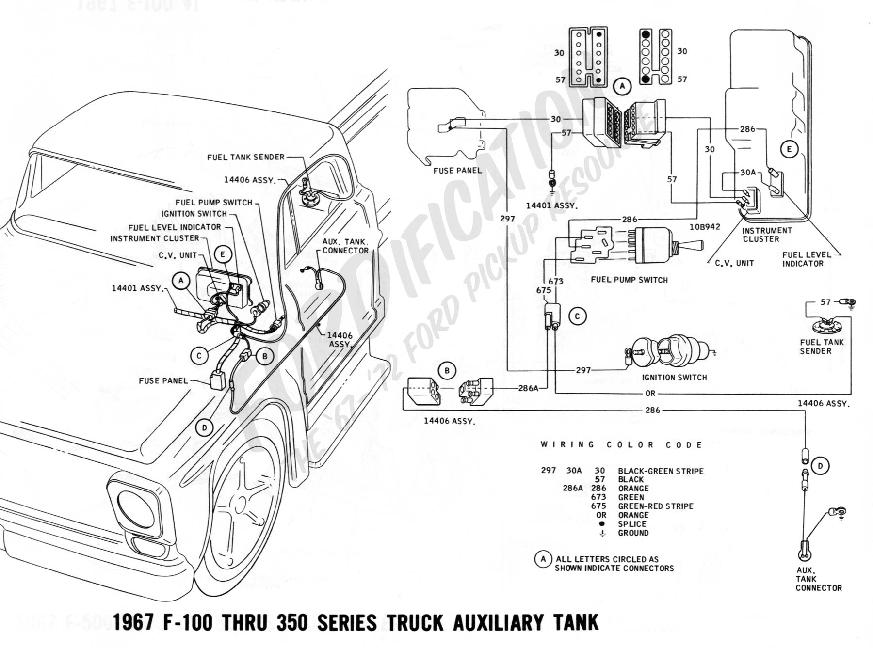 ford truck technical drawings and schematics section h wiring 1967 f 100 thru f 350 auxiliary fuel tank