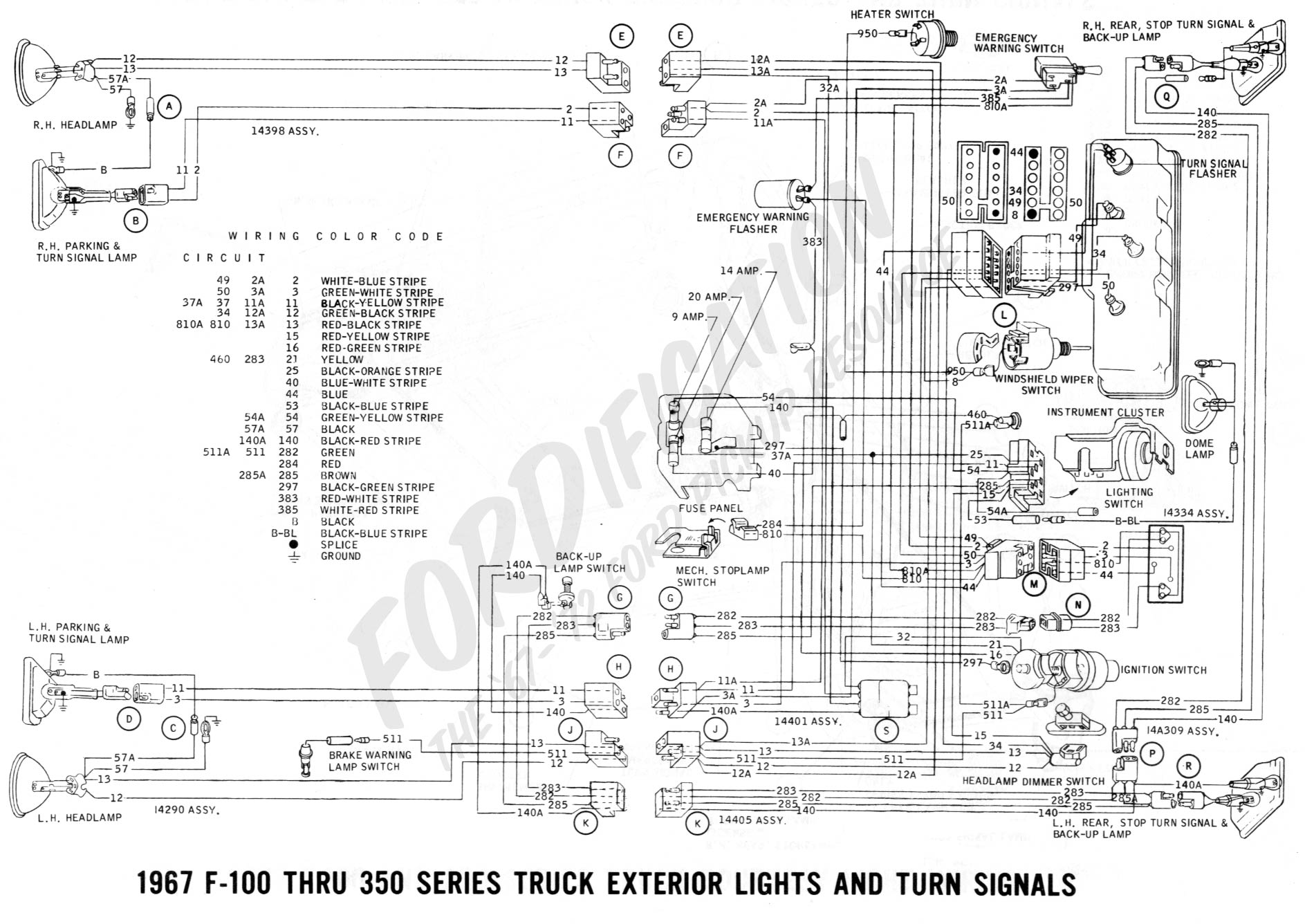 wiring 1967extlights02 1965 ford f100 dash gauges wiring diagram jpg (970�787) f100 ford truck wiring diagrams at nearapp.co