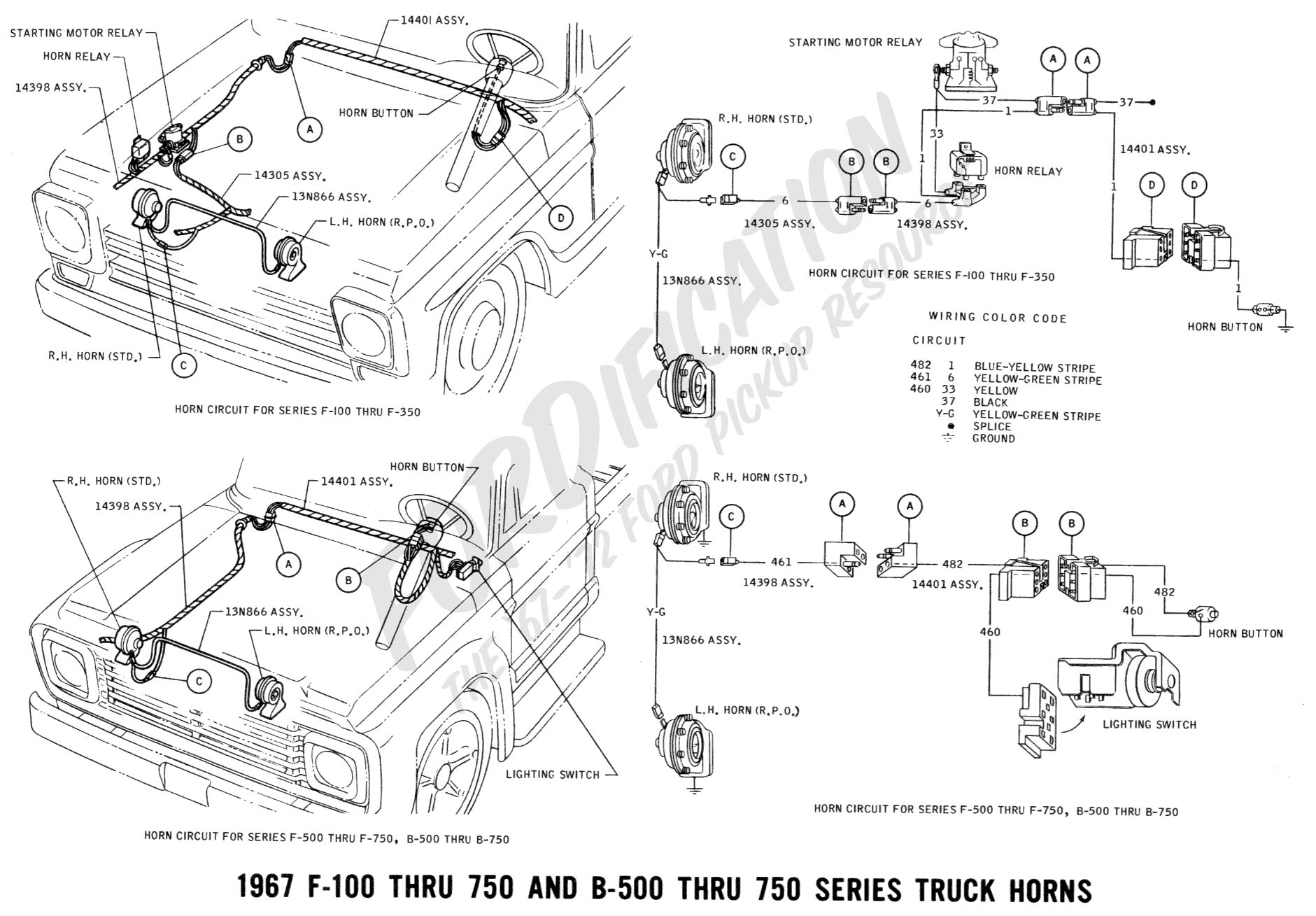 Ford truck technical drawings and schematics section h wiring 1967 f 100 thru f 750 b 500 thru 750 horn cheapraybanclubmaster Gallery