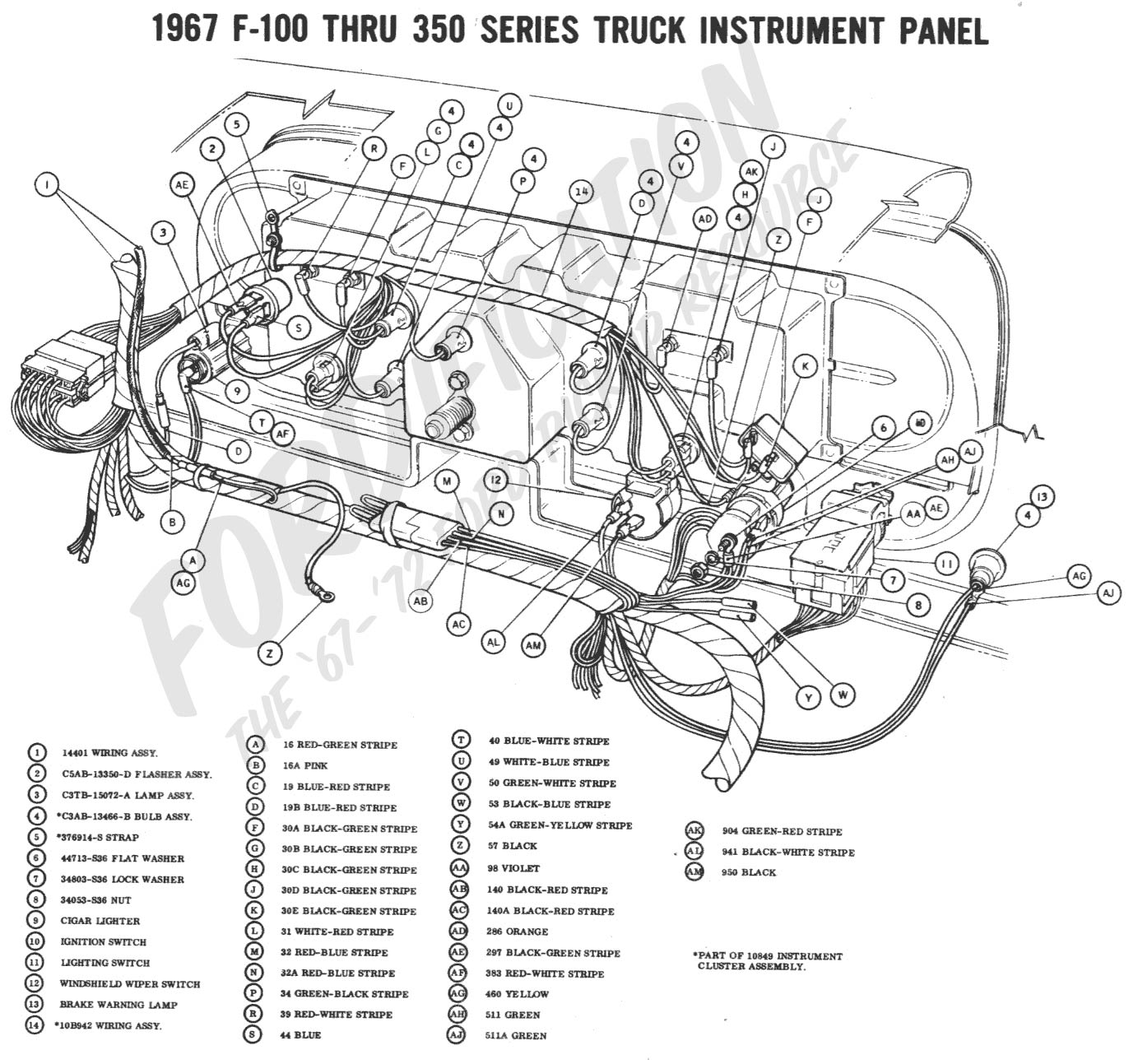ford truck technical drawings and schematics section h wiring 1967 f 100 thru f 350 instrument panel 1967 master wiring diagram