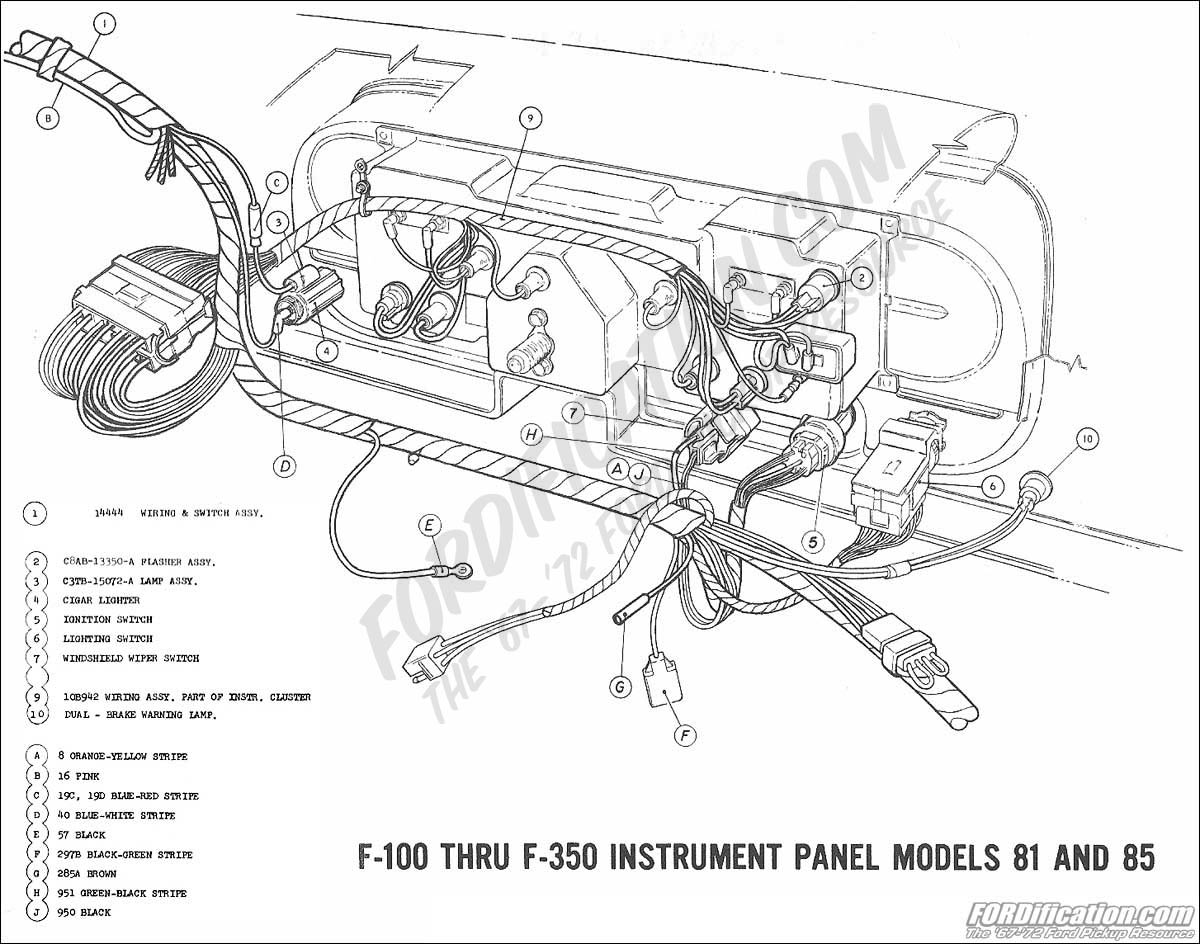 Ford Truck Technical Drawings And Schematics Section H Wiring 1971 Bronco Diagram 1969 F 100 Thru 350 Instrument Panel