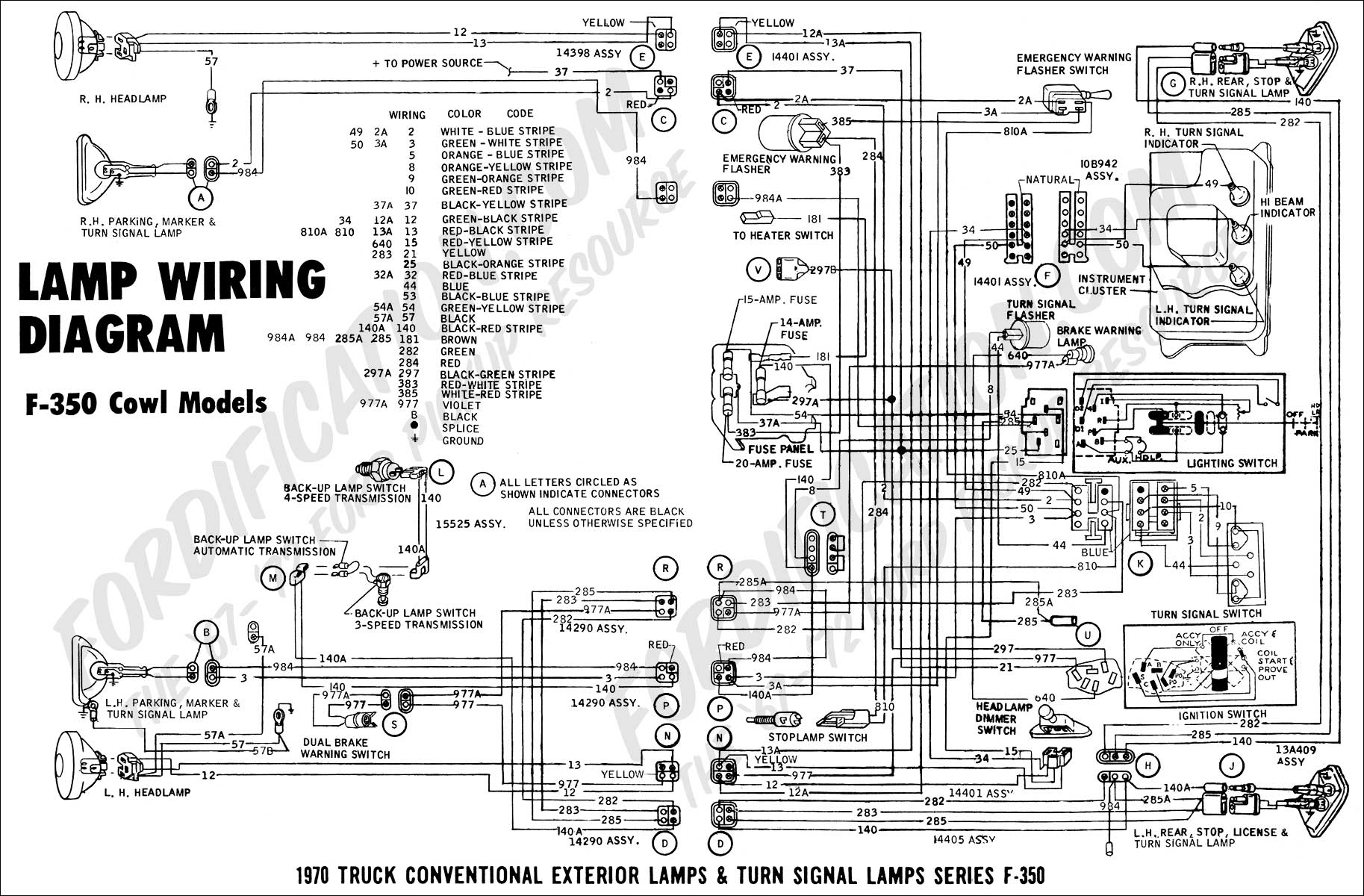 ford truck technical drawings and schematics section h wiring 1970 f 350 cowl models lamp wiring 01