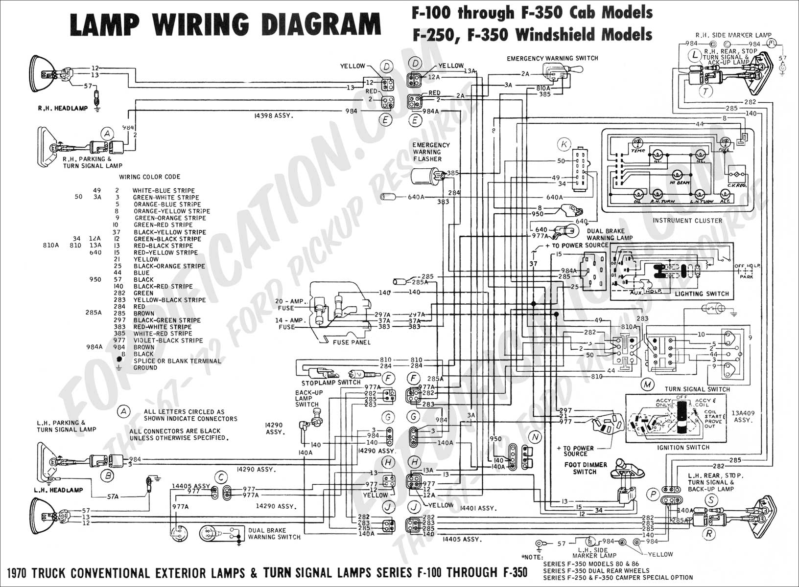 ford truck technical drawings and schematics section h wiring 1970 f 100 f250 lamp wiring 01