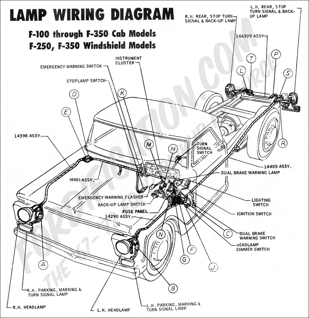 ford truck technical drawings and schematics section h wiring 1974 Ford F100 Wiring Diagram 1970 f 100, f250 lamp wiring 02 1974 ford f100 wiring diagram