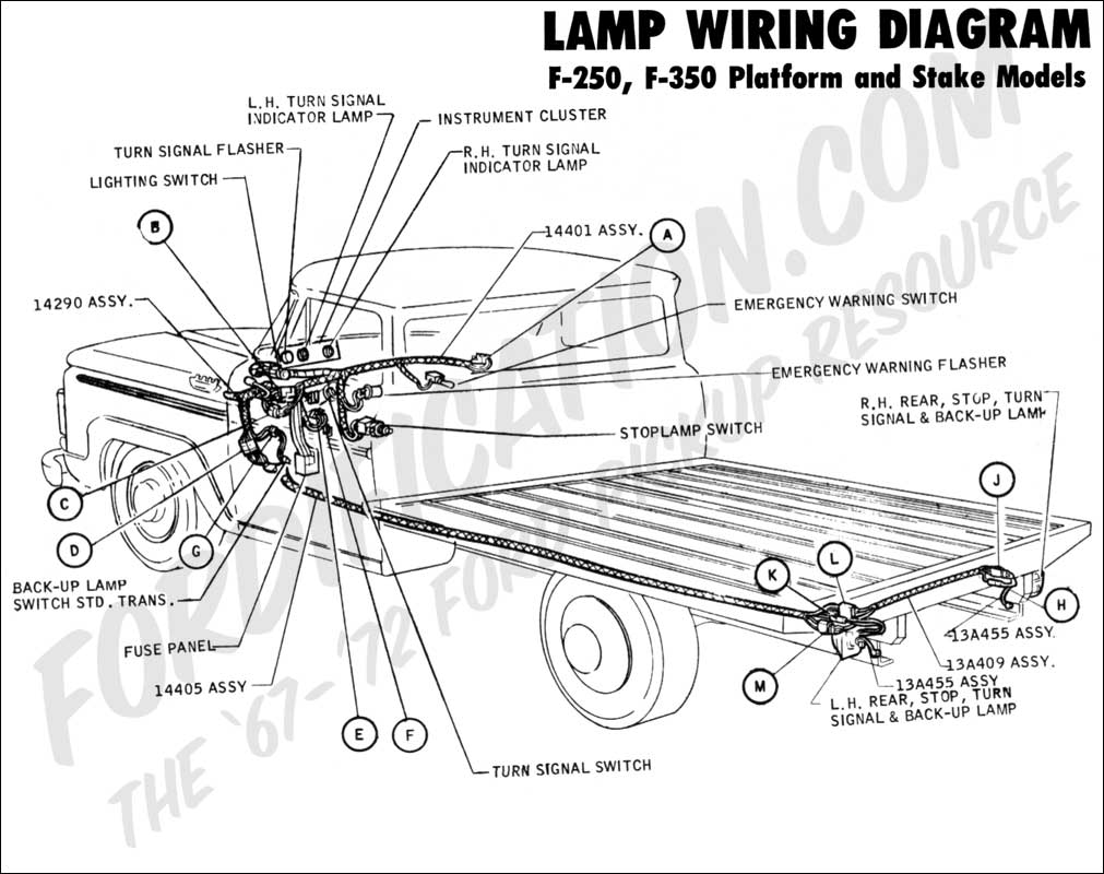 Ford Truck Technical Drawings And Schematics Section H Wiring 91 Nissan Pick Up Diagram Lights 1970 F 250 350 Platform Stake Rear Lamp 02