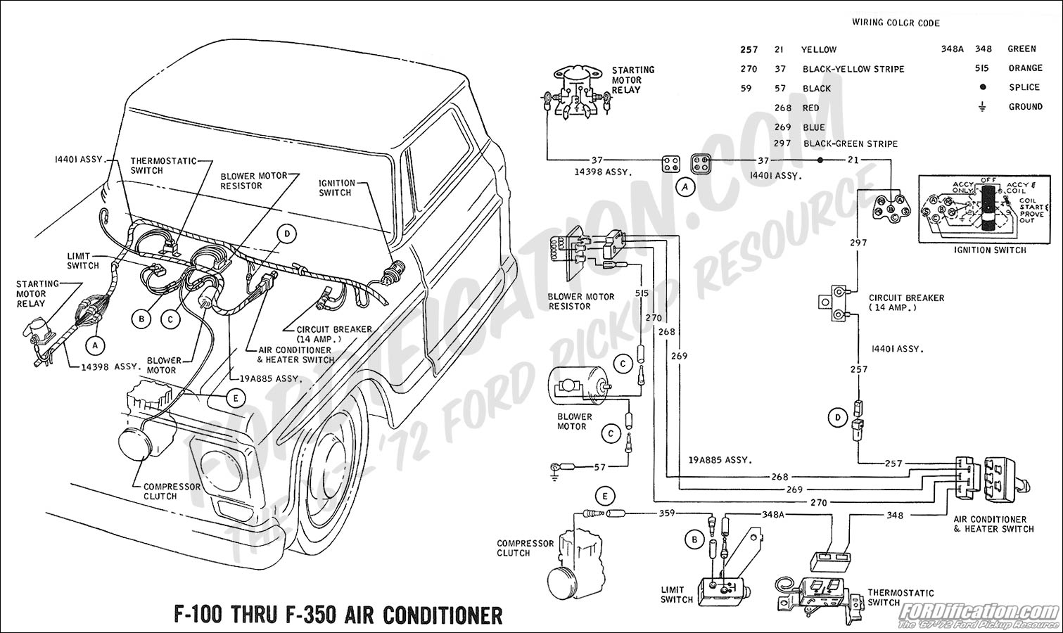 ford truck technical drawings and schematics section h wiring 1969 f 100 thru f 350 air conditioner