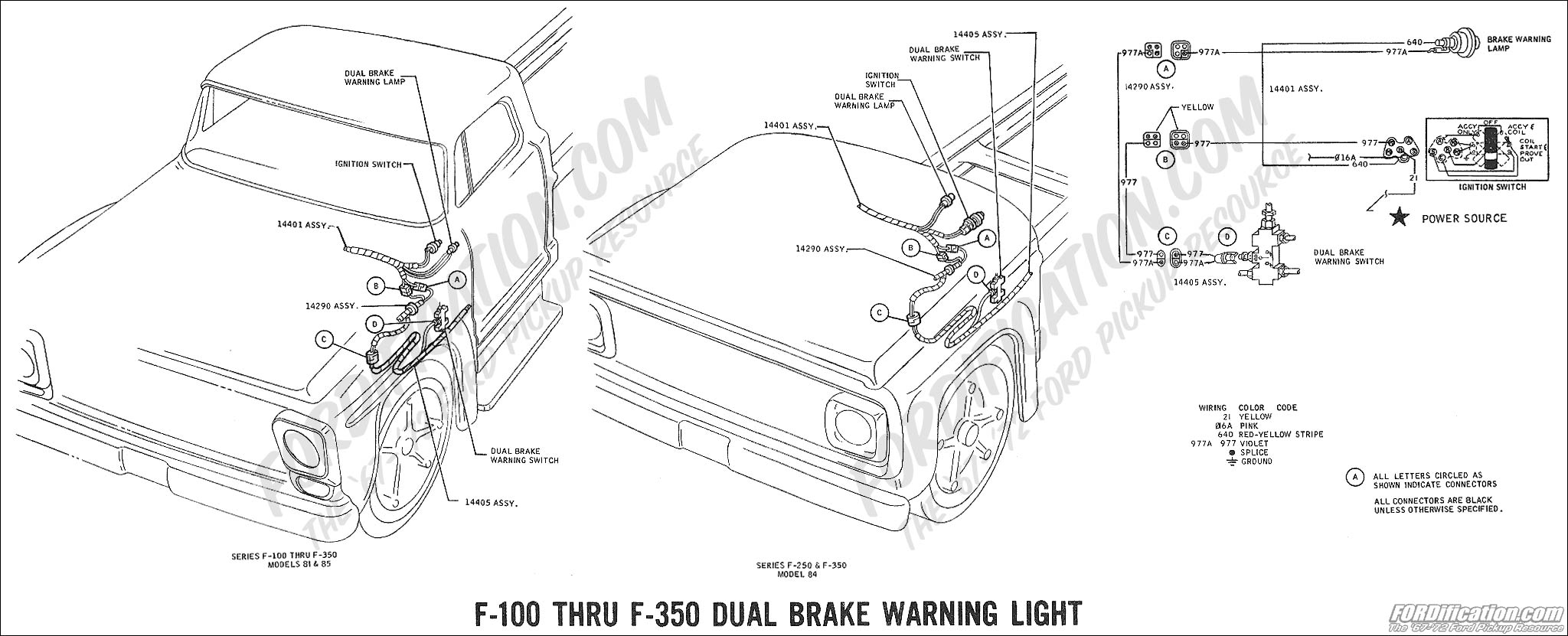 Ford Truck Technical Drawings And Schematics Section H Wiring 1971 Bronco Diagram 1969 F 100 Thru 350 Dual Brake Warning Light