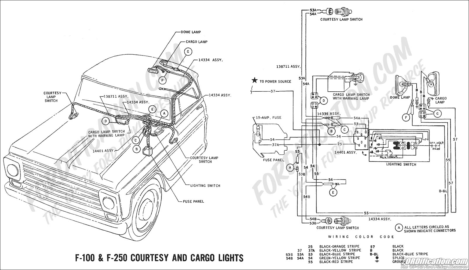 Ford Truck Technical Drawings And Schematics Section H Wiring 1966 Chevy Nova Dome Light Wire 1969 F 100 250 Courtesy Cargo Lights