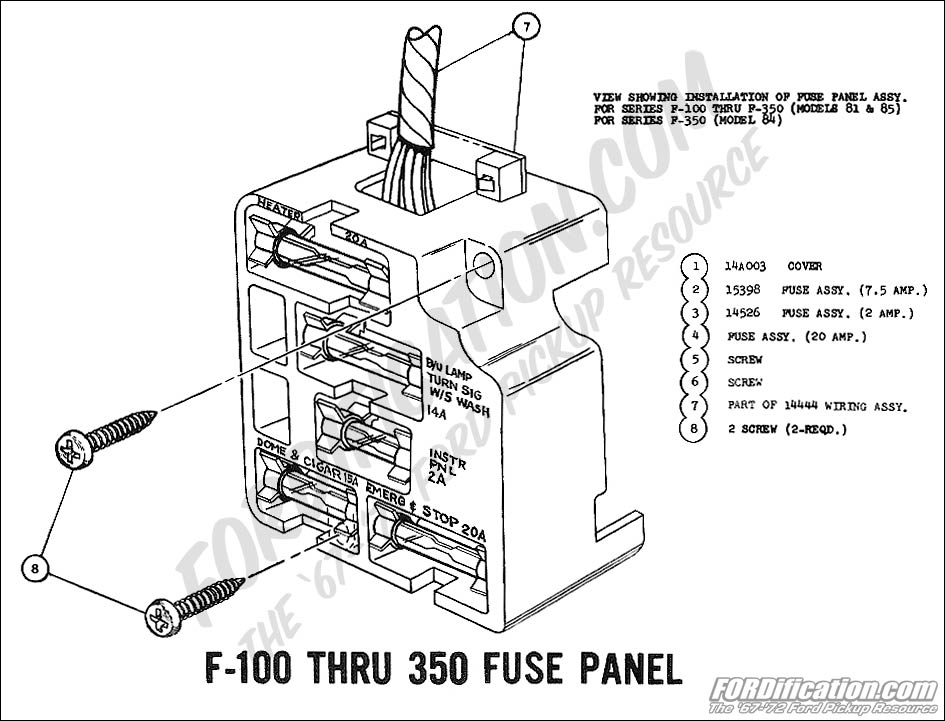 ford truck technical drawings and schematics section h wiring 1969 f 100 thru f 350 fuse panel