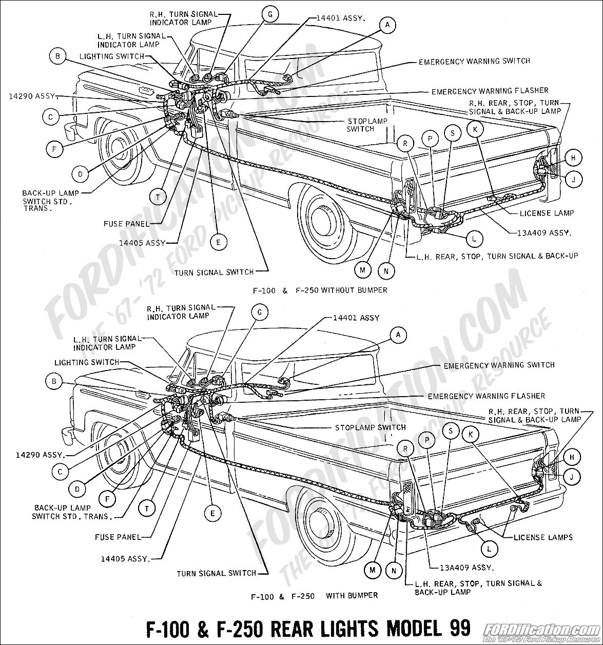 ford truck technical drawings and schematics section h wiring 1969 f 100 f 250 rear lights model 99 02