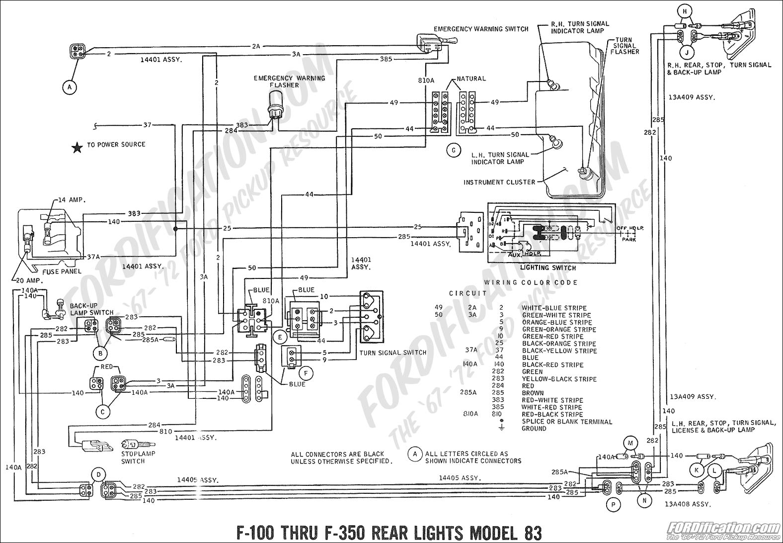 ford truck technical drawings and schematics section h wiring ford wiring schematic 1969 f 100, f 250 rear lights (model 83) 02