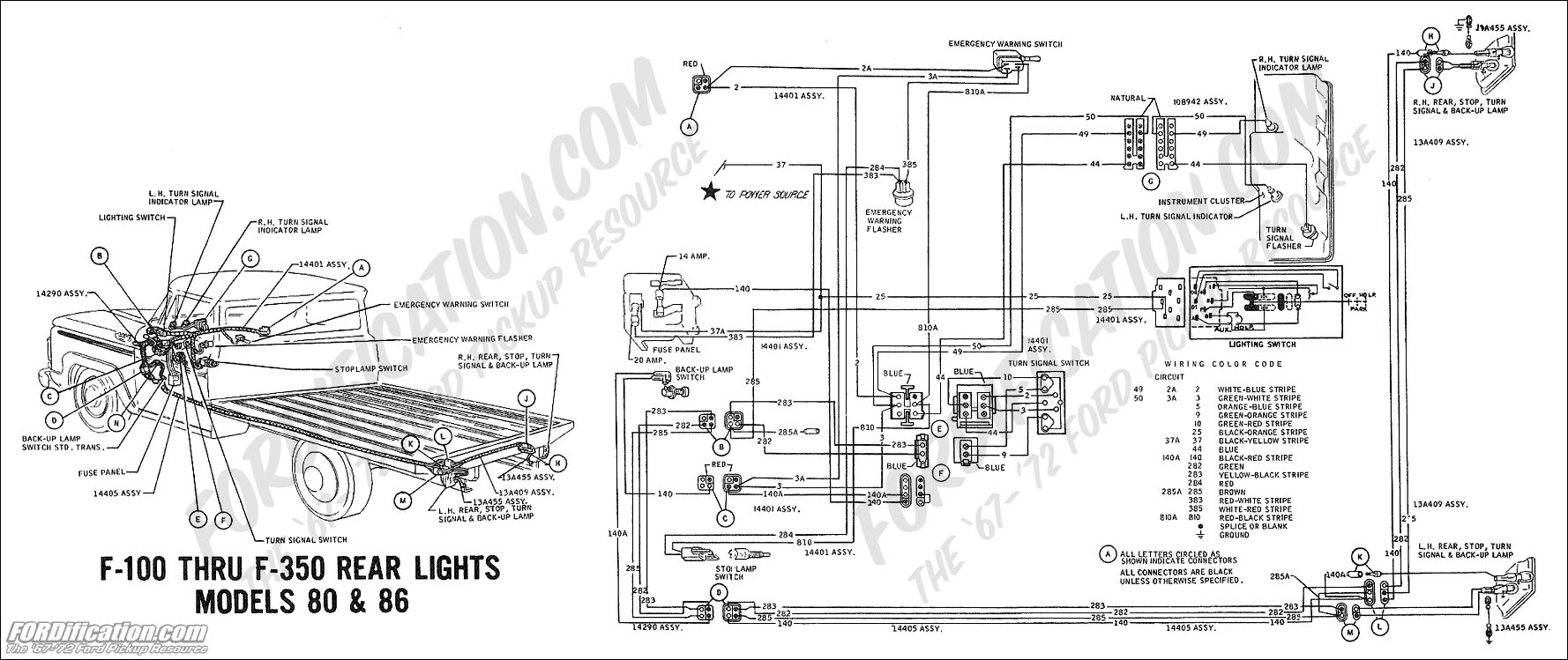 1969 f-100 thru f-350 rear lights (models 80 & 86) ford truck technical  drawings and schematics