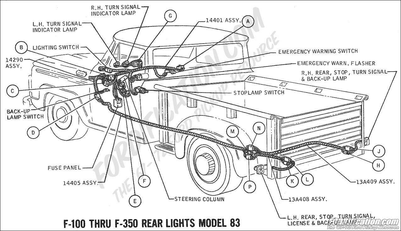 Ford Truck Technical Drawings And Schematics Section H Wiring 1971 F100 Diagram Factory 1969 F 100 250 Rear Lights Model 83 01