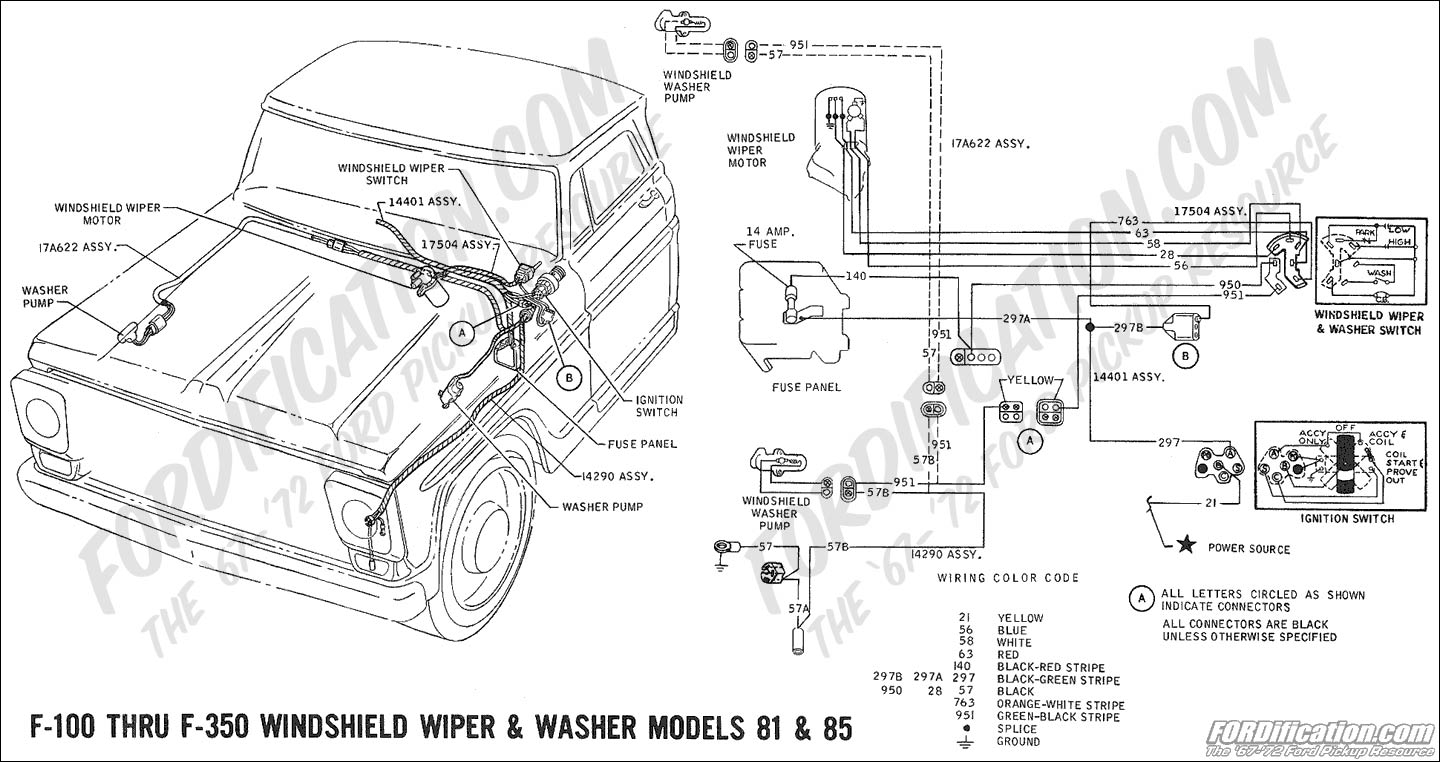 Ford Truck Technical Drawings And Schematics Section H Wiring 2003 F 250 Interior Lights Diagram 1969 100 Thru 350 Windshield Washer Pump Models 81 85
