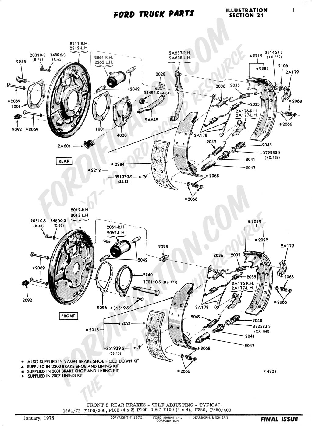 Ford Truck Technical Drawings and Schematics - Section B - Brake Systems  and Related Components