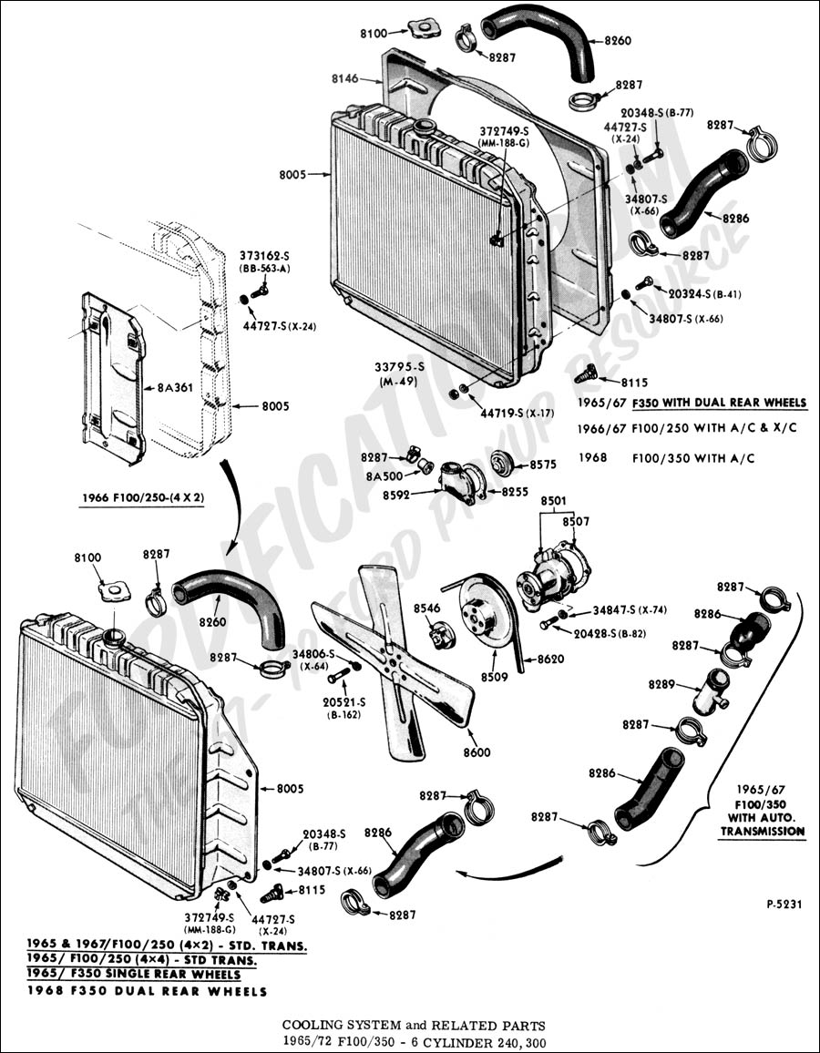 cooling system and related parts - typical 1965-1972 f100/350 - 6 cylinder  240,