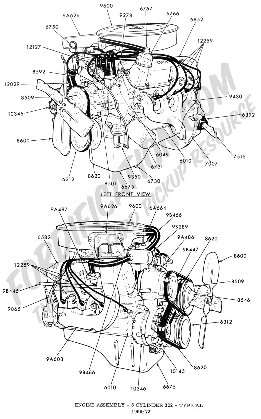 350 engine parts diagram