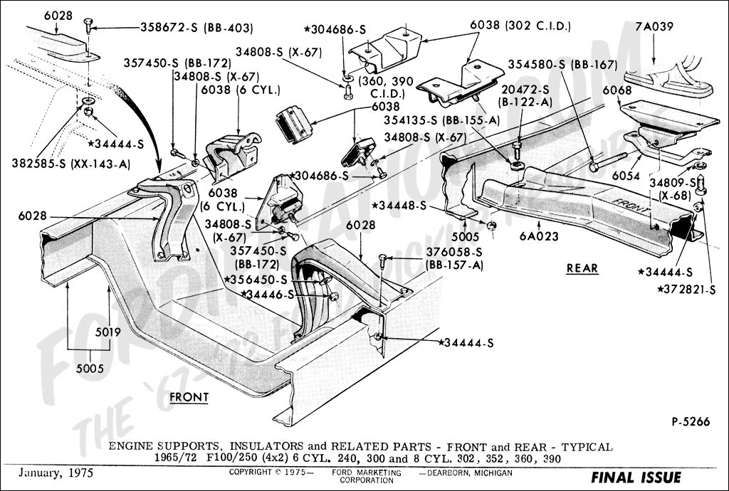 Ford Truck Part Numbers  Engine Supports   FORDification
