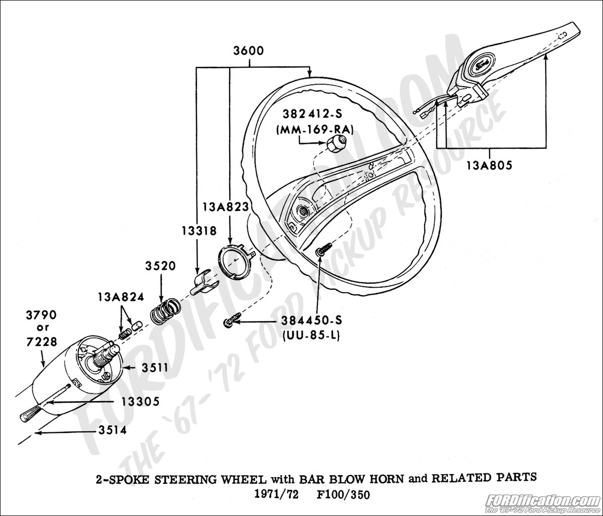 1972 Ford F100 Ignition Switch Wiring Diagram 45 Bronco Steeringwheel 7172 Truck Technical Drawings And Schematics Section I 1971
