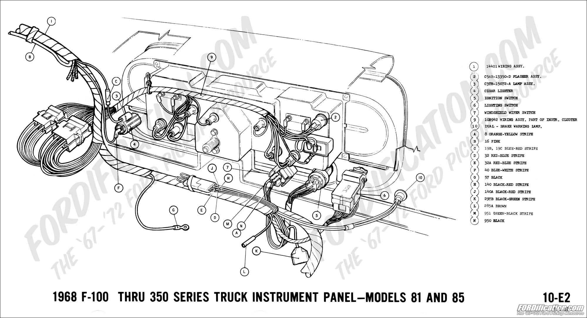 Ford Truck Technical Drawings And Schematics Section H Wiring 1970 Datsun Alternator Diagram 1968 F 100 Thru 350 Instrument Panel