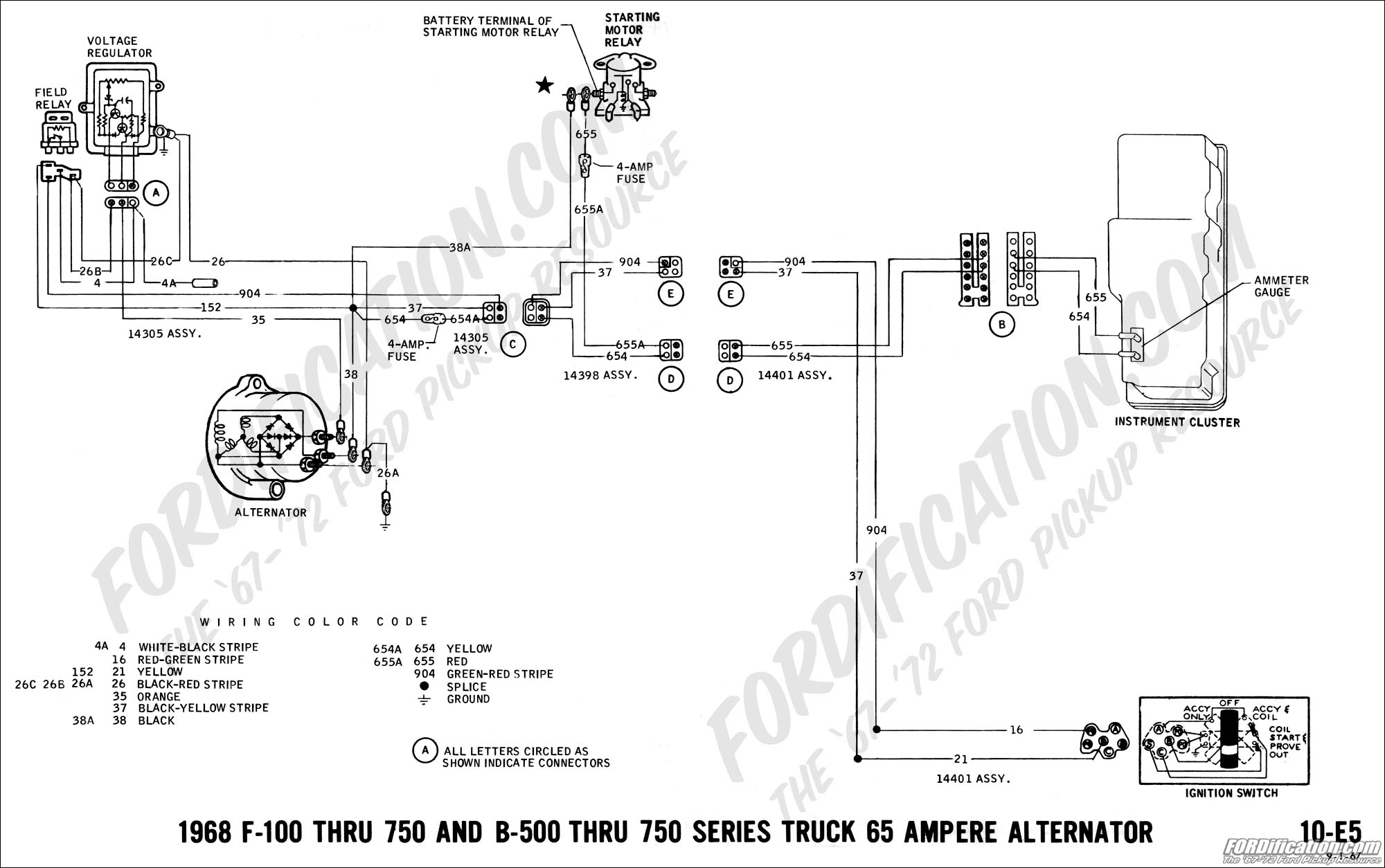 ford truck technical drawings and schematics section h wiring 1980 Club Car Wiring Diagram 1968 f 100 thru f 750 and b 500 thru f 750 65 amp alternator