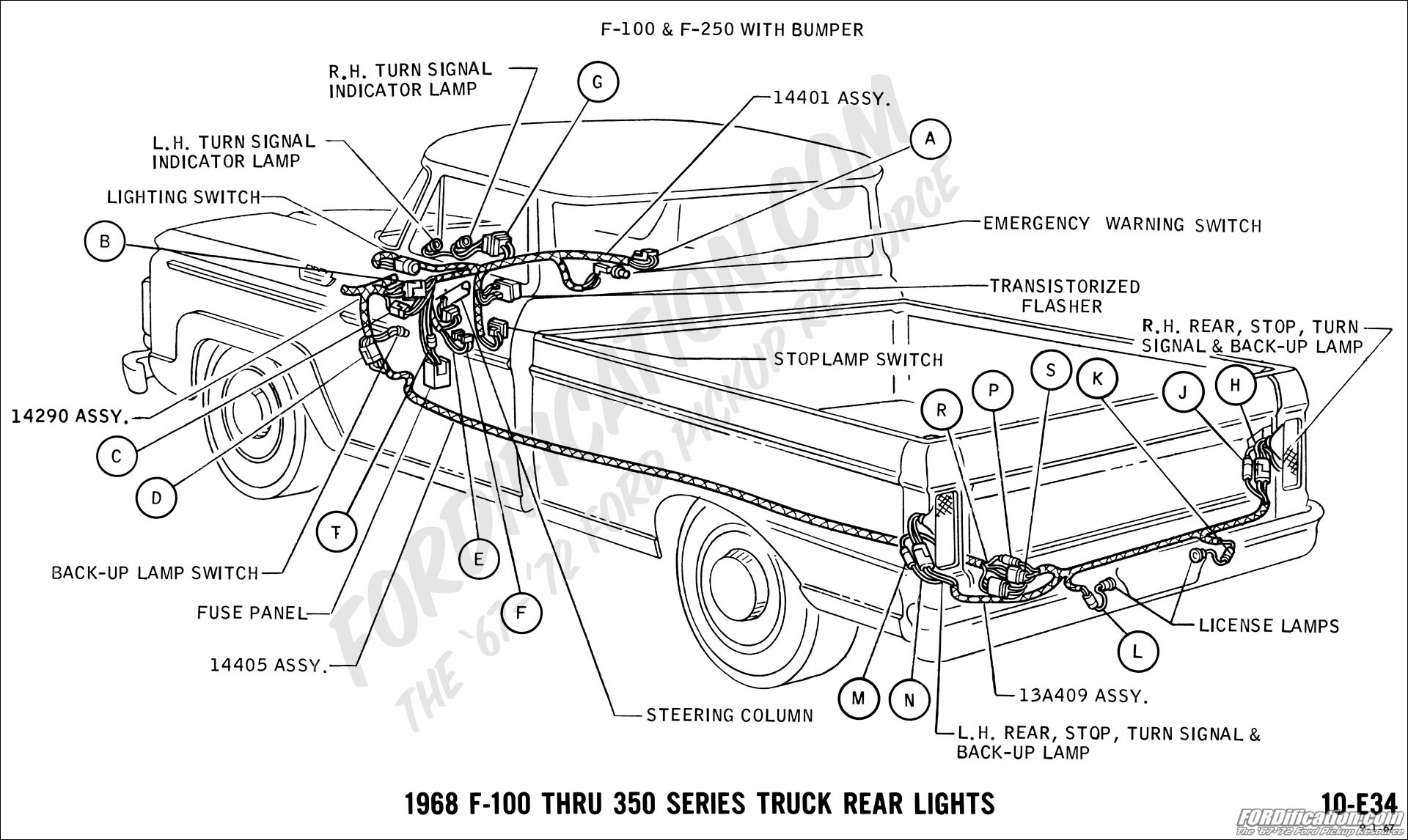 Ford Truck Technical Drawings And Schematics Section H Wiring 1962 Chevy C10 Steering Column Diagram 1968 F 100 Thru 350 Rear Lights