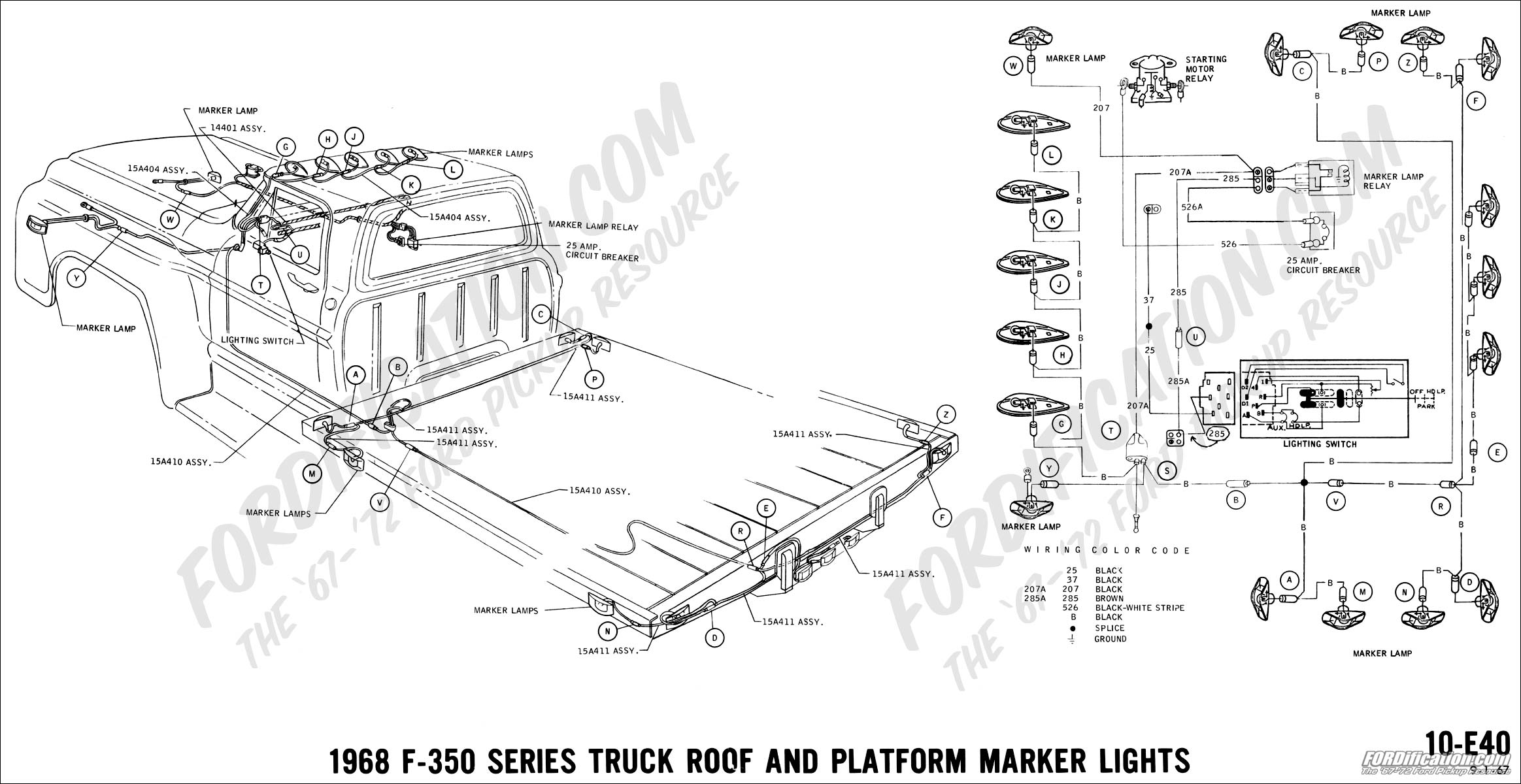 Ford Truck Technical Drawings And Schematics Section H Wiring 1968 F100 Turn Signal Diagram F 350 Roof Platform Marker Lights