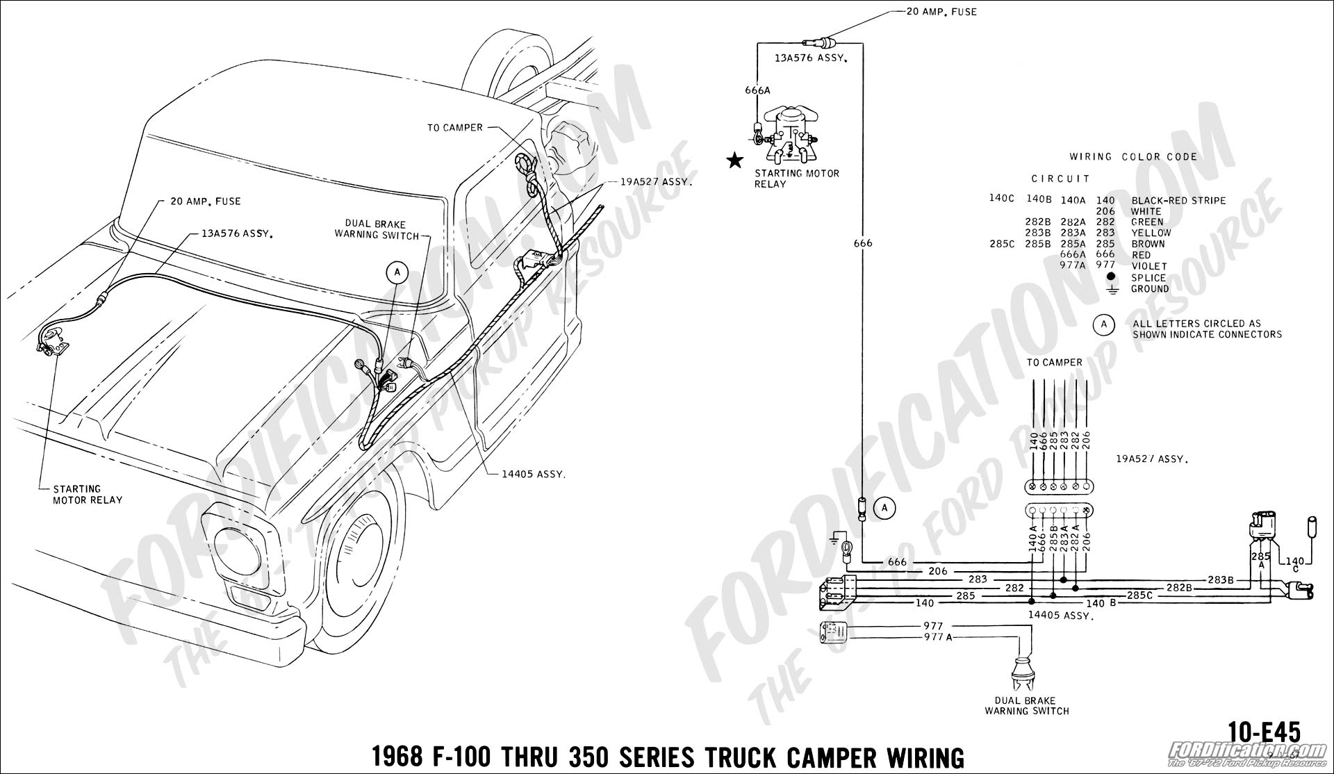 Ford Truck Technical Drawings And Schematics Section H Wiring 1997 Expedition Xlt Diagram4wdtrailer Light Plug 1968 F 100 Thru 350 Camper