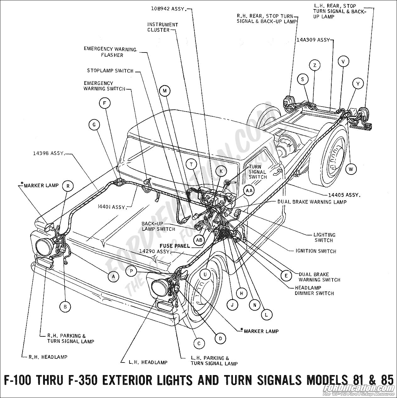Ford Truck Technical Drawings And Schematics Section H Wiring 1991 F150 4x4 Fuse Box To Coil 1969 F 100 Thru 350 Exterior Lights Turn Signals