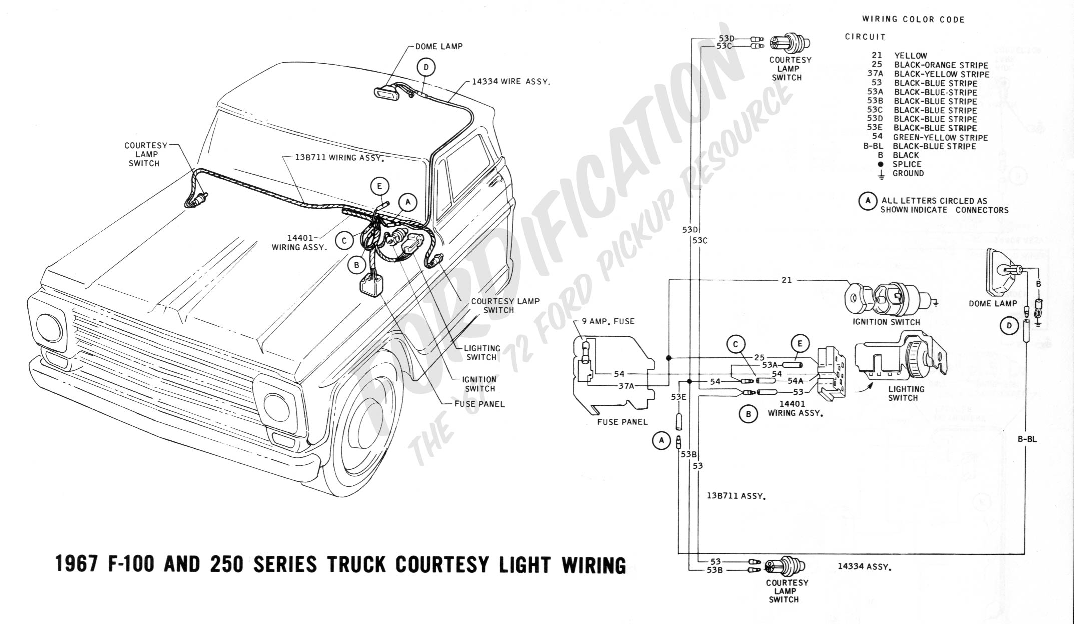 Ford Truck Technical Drawings And Schematics Section H Wiring 1964 Gmc Electrical System Diagram 1967 F 100 250 Courtesy Light