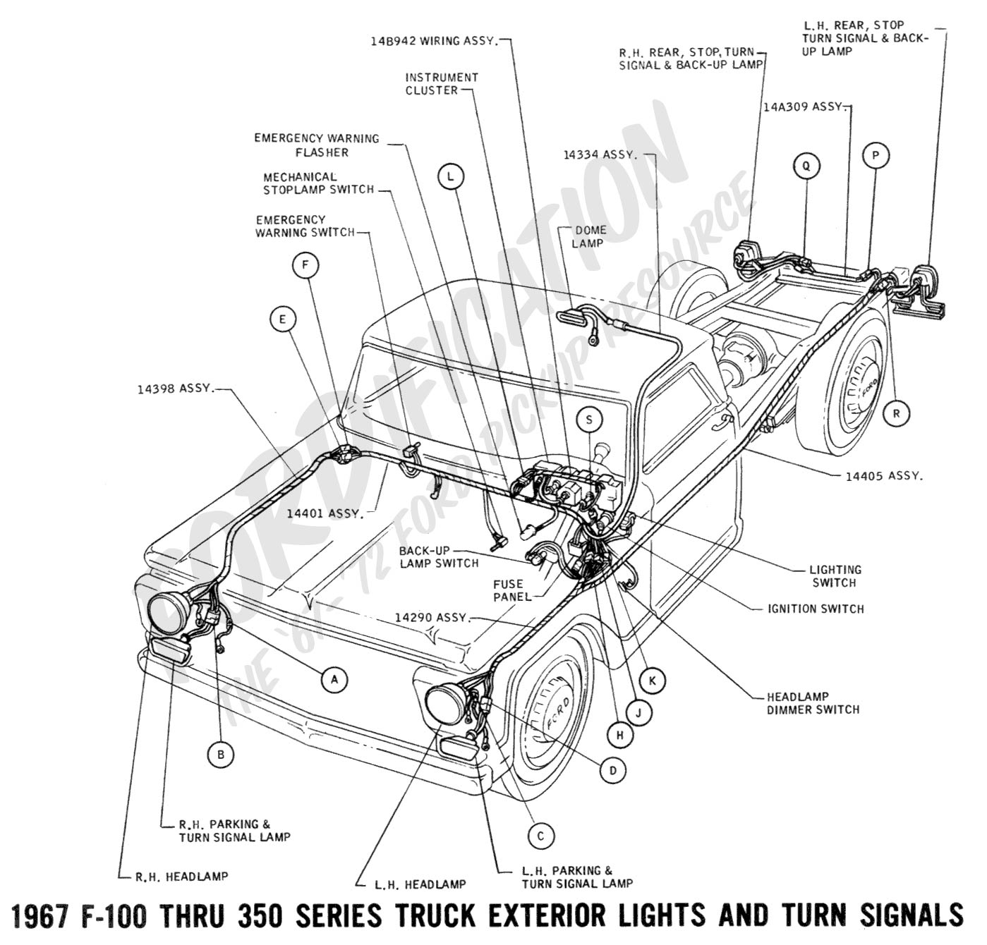 Ford Truck Technical Drawings And Schematics Section H Wiring External Fuse Box 1967 F 100 Thru 350 Exterior Lights Turn Signals 01